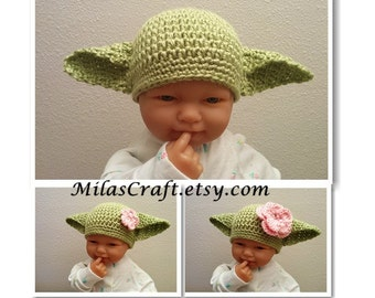 Crochet Baby Yoda Hat with Ears, Boy/Girl Yoda Hat, Baby Shower Gift,Photo Prop,Newborn Baby Coming home outfit