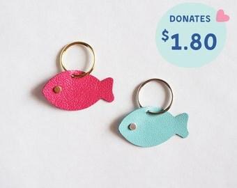 Handmade FISH Leather Charm / Keychain