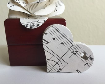 100 Vintage Sheet Music Die Cut Hearts With Mini Heart Cut Out-Weddings-Tags-Scrapbooking-Gifts-Decor