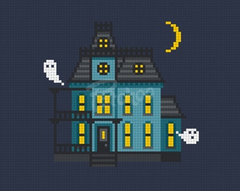 Haunted House, Home Sweet Home - Cross Stitch Pattern (PDF) - INSTANT DOWNLOAD