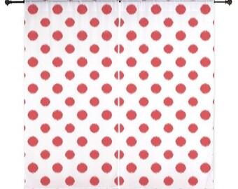 Chiffon Curtains - Teen Curtains - Bedroom Curtains - Sheer Curtains - Red - Polka Dots - Girls Curtains - Teen Room Decor