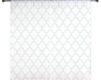Chiffon Curtains - Mint Curtains - Green Quatrefoil - Sheer Curtains - Bedroom Curtains - Girls Curtains - Teen Curtains - Mint - Quatrefoil