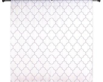 Lavender Curtains - Chiffon Curtains - Purple Quatrefoil - Sheer Curtains - Bedroom Curtains - Girl Curtains - Teen Curtains - Dorm Curtains
