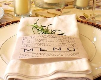 Printable Napkin Ring Menu - Weddings - Thanksgiving - Dinner Parties - Shabby Chic - Farmhouse Style Table Decor