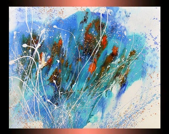 ORIGINAL ABSTRACT Art | Mixed media painting on watercolor paper | painting for living room | home office | Contemporary art | Blue Painting