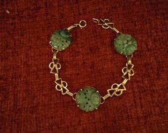 Vintage Finely Carved Chinese Jadeite Jade and 10K Gold Bracelet