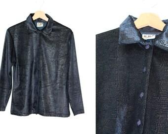 Shirt vintage 1970 blue snake skin effect velvet