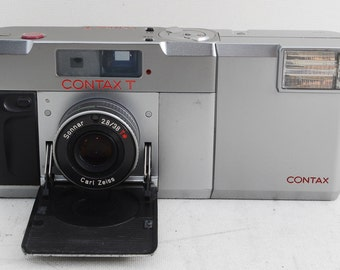 Vintage Contax T 35mm Film Camera Carl Zeiss T* Sonnar 38 mm 2.8 lens with Dedicated Flash (T14) with Strap