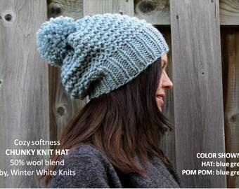 Chunky knit hat, pom pom knit hat, Knit winter hat, knit beanie, COZY WOODS HAT, chunky knit slouch beanie, pom pom hat