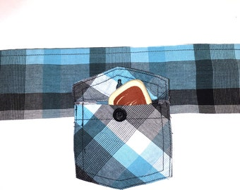 """Dog Collar - With Small Pocket - Perfect For Treats or House Key - Turquoise, Black & White Plaid - Black Button - Velcro Closure - 11 1/2"""""""