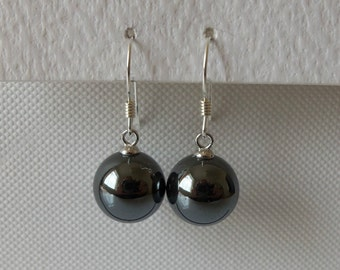 925 Sterling Silver Round Haematite Ball Drop Earrings.
