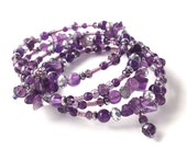 Amethyst Bracelet, Semi Precious Stones Wrap Bracelet, Memory Wire, Purple Beaded Coil Bracelet