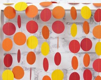 Fall Garland - Autumn Decor - Red Orange Yellow Paper Garland - Fall Circle Garland