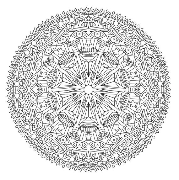 Aztec Coloring Pages Pdf : Items similar to mandala coloring page zentangle inspired
