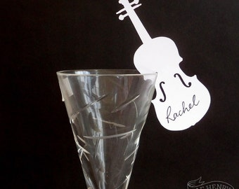 10 VIOLIN PLACE CARDS Wine Glass Decorations Name Cards Music Wedding/ Party
