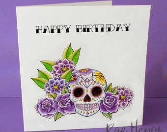 Purple Sugar Skull Birthday Card Tattoo Rockabilly Day of the Dead Dia De Los Muertos