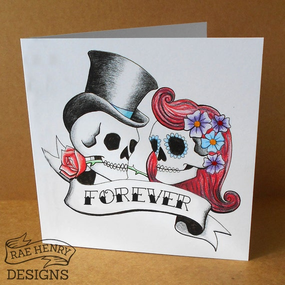 forever skulls wedding card anniversary card tattoo rockabilly. Black Bedroom Furniture Sets. Home Design Ideas