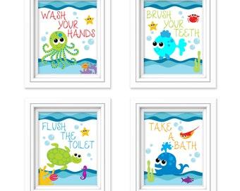 Kids Bathroom Art  Sea Creature Bathroom Print Set   Under The Sea   Kids  Bathroom