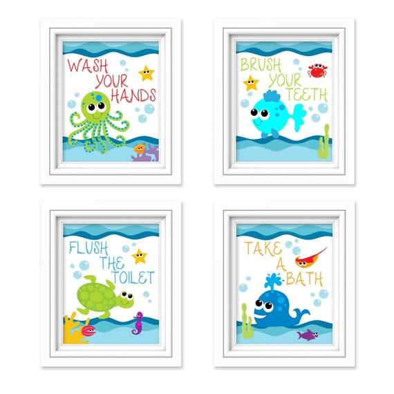 Kids Bathroom Art Sea Creature Bathroom Print Set Under The