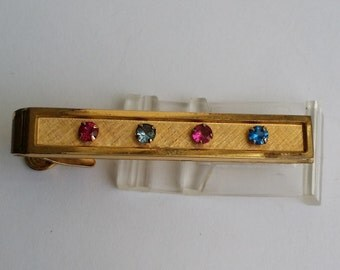 Vintage Signed FOSTER 12k Yellow Gold Filled Colored Rhinestone Tie Clip Clasp Bar