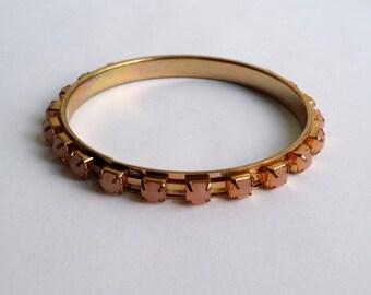 Cute Vintage Gold Tone Pink Rhinestone Large Size Bangle Bracelet