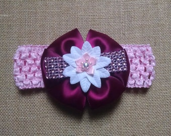 Burgundy Headband, Baby Headband, Rhinstone Headband, Baby Hair Accessory, Baby Girl Headband, Girls Hairbow, Infant Headband, Pink Hairbow