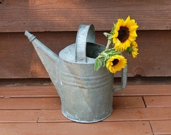 Large Galvanized Watering Can, Vintage Watering Can, Number 8 Watering Can