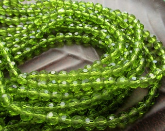 SALE Summer Clearance**6 mm rich  green glass faceted round beads--------FULL   STRAND