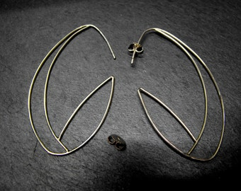 7N8 - Boucles d'oreilles Créoles ovales, graphiques