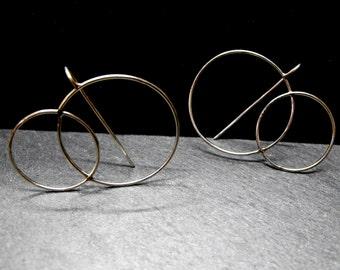 7N7 - Boucles d'oreilles graphiques anneaux mélés en argent véritable