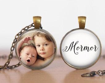 Mormor Photo Pendant Double Sided Mormor Personalized Custom Pendant Double Pendant Two Sided Necklace or Key Ring