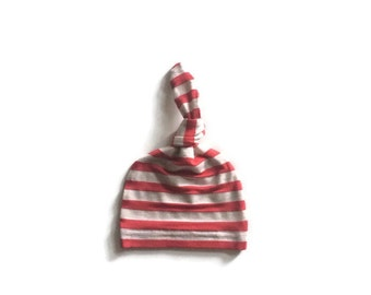 Bamboo Newborn hat, hospital hat, infant hat, baby hat, take home, knot hat in red and oatmeal stripe   READY TO SHIP!!