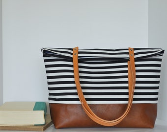 Classic Striped Canvas and Leather Tote Bag in Cognac Leather, Leather Handle Shoulder Bag, Navy Lining