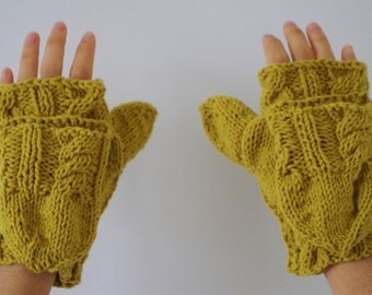 Chartreuse Hand-knit Mittens with Flap