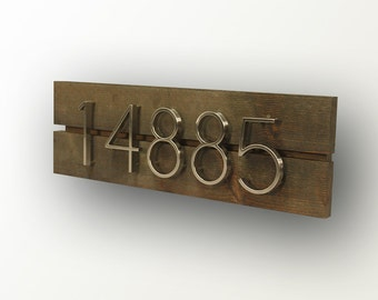 Modern House Numbers - Dark Walnut