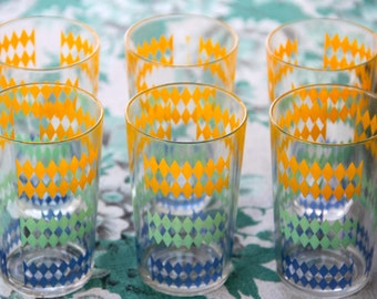 Vintage 1960s Set of 6 Collectible Atomic Drinking Glasses