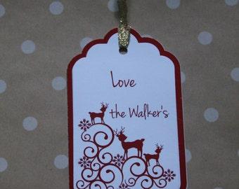 Christmas gift tags, Set of 12 Christmas tags, Personalized Christmas tags,