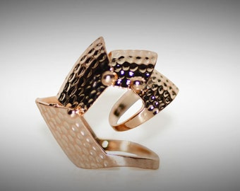 Gladiator Plated  Rose Gold Shield Ring