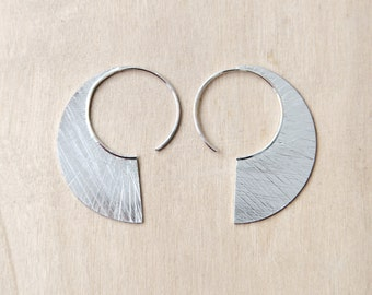Textured Sterling Silver Earrings, Half Round Sterling Silver Earrings. Minimal and Comfortable Pair in a Unique Shape. Scratched