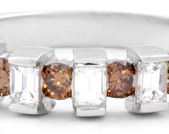 White and Champagne Diamond Ring 18K White Gold