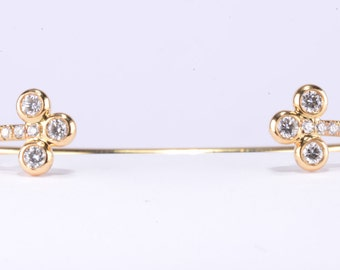 18K Diamond Cuff-Bracelet in Yellow Gold