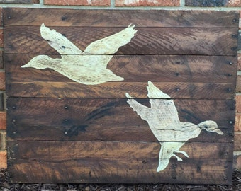 Duck Hunting Pallet Wood Art Reclaimed Wood Sign Pallet Decor