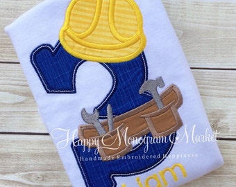 Construction themed birthday number applique