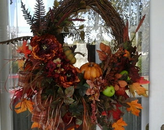 Fall Wreath, Sale Hydrangea Wreath, Thanksgiving Wreath, Grapevine Wreath, Peony, Rustic Country Wreath, Door Wreath, SHIPPING INCLUDED