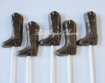COWBOY BOOT CHOCOLATE Lollipops*12 Count*Birthday Party Favor*Cowboy Party*Cowgirl Party*Square Dance*Hoedown*Rodeo*Barn Dance*Western Theme