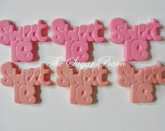 SWEET SIXTEEN Chocolate Cupcake Toppers*24 Count*16th Birthday*Sweet 16 Favor*Sweet 16 Birthday Party*16th Birthday Favor