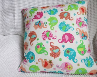 Gorgeous, colourful, elephants adorn this hand made, designer print cushion cover.