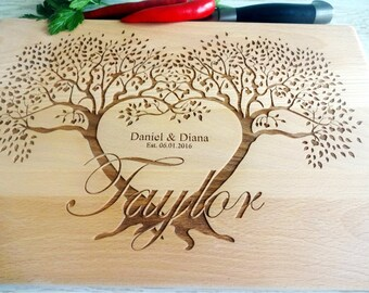 FAMILY TREE Personalized  Cutting Board. Couple cutting board. Custom Lazer engraved Chopping block. Wedding, Mother's Day gift, anniversary