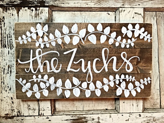 Last Name Sign Rustic Home Decor Wedding Decor