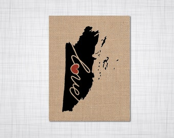 Belize Love - Burlap or Canvas Paper State Silhouette Wall Art Print / Home Decor (Free Shipping)